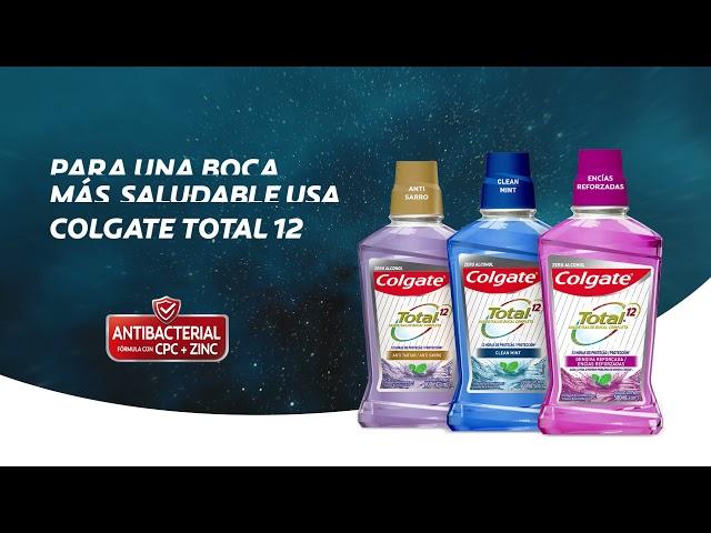 12 horas de protección antibacterial con Enjuague bucal Colgate Total 12.