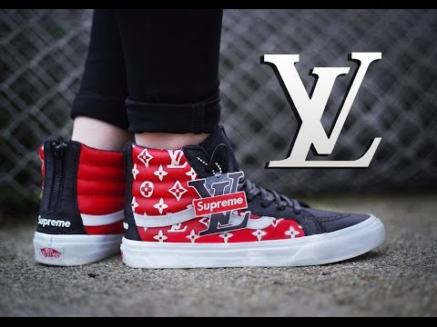 How To: Louis Vuitton X Supreme Collab Vans Sk8 Hi Custom + On