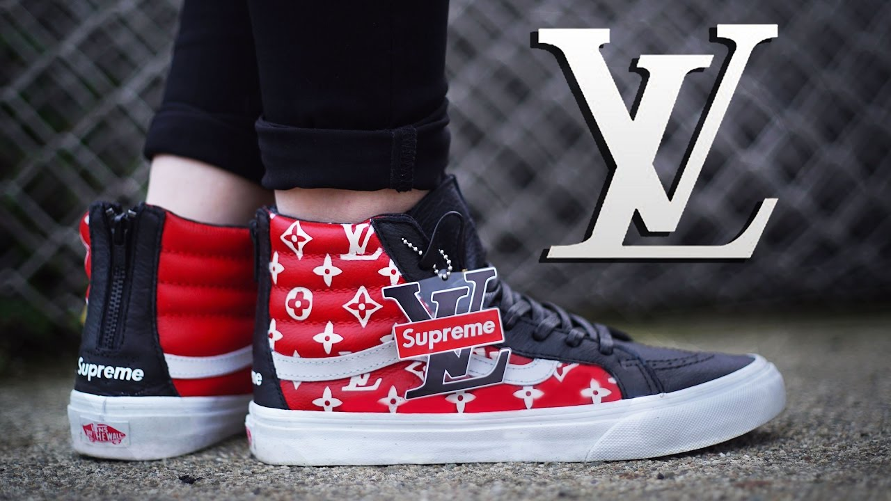 5f50bfbf7ce How To  Louis Vuitton x Supreme Collab Vans Sk8 Hi Custom + On Foot ...