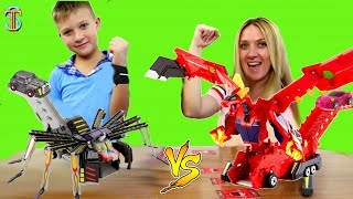 Мекард БИТВА 🥊 Кто лучше играет в карточную игру с трансформерами 🤖 Mecard? Тима против мамы!