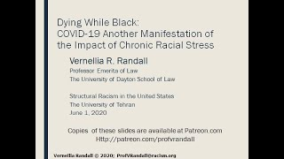 Dying While Black: COVID-19, Impact of Chronic Racial Stress and the Inadequacy of the Law