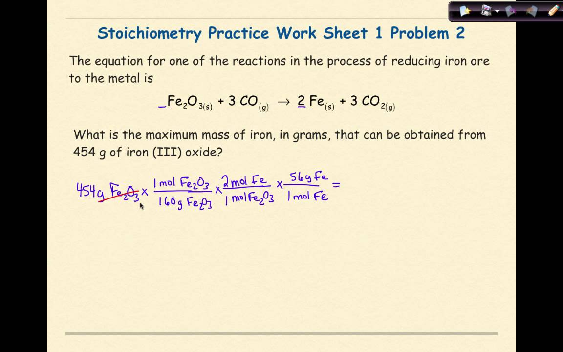 Ap Chemistry Stoichiometry Worksheet 1 Problem 2 Youtube
