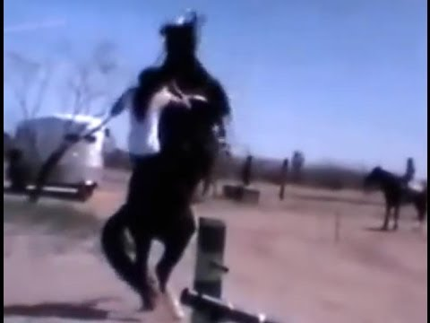 Horse Almost Kills Rider- Great Riders who Wear Helmets- New Superman Horse Riding Style