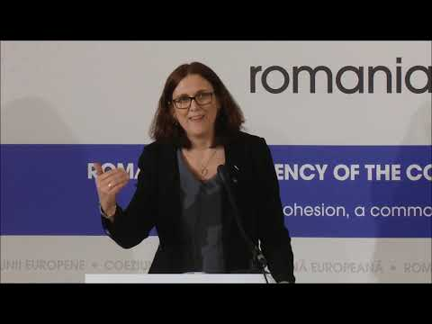 [EU] European Commissioner Cecilia Malmström holds press conference after EU Trade Ministers meeting