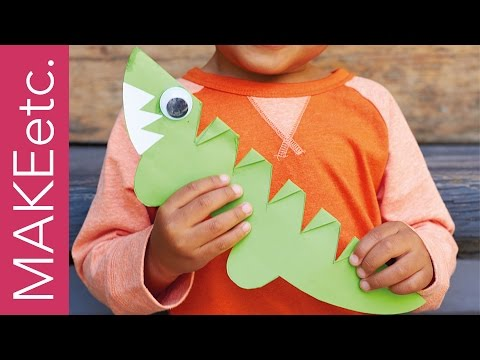 How to make a super simple Snappy Crocodile - Paper crafting project for kids