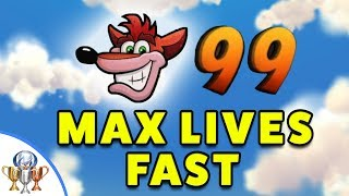 Crash Bandicoot 1 - How to Quickly Farm and Get 99 Lives (On Cloud 99 Trophy)