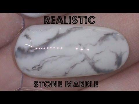 Nail Art: Realistic Black and White Stone Marble Gel Polish