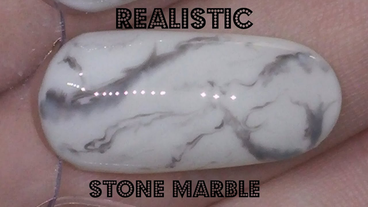 Nail Art Realistic Black And White Stone Marble Gel