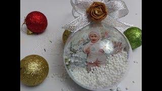 як зробити декупаж новорічного кулі