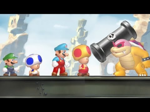 New Super Mario Bros U - All Castle Bosses (4 Players)