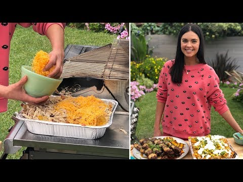 Katie Makes Surf and Turf Skewers + Jerk Chicken Nachos | Food Network