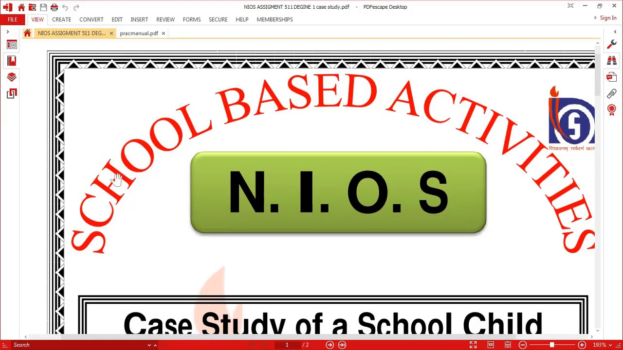 NIOS Deled Solved SBA (school based activities) Report File  | part 3 | 30 Marks Solve | course 511 #1