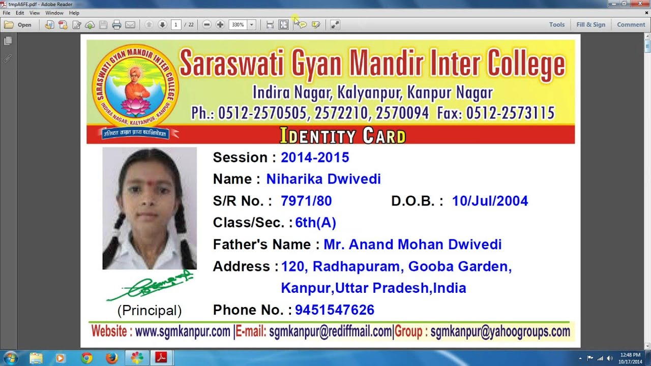 Erp Card Student Youtube amp; Ez-school Printing Identity Education - Staff With