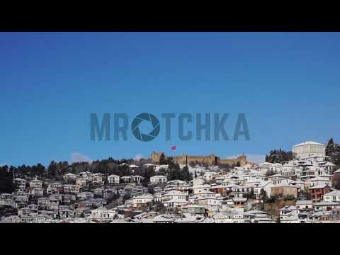 Stock footage: Old town of Ohrid with Tsar Samoil fortress, Macedonia