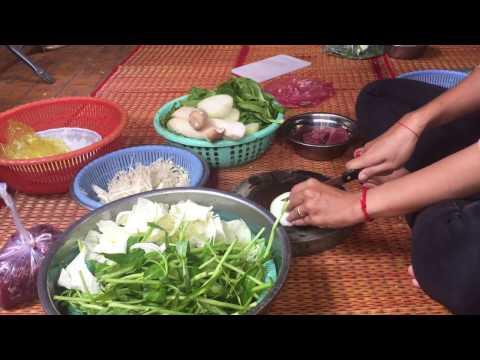 Asia Food, Preparing vegetables and beef for lunch, Cambodian food