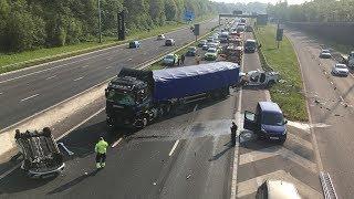 Aftermath of multi vehicle crash on M62