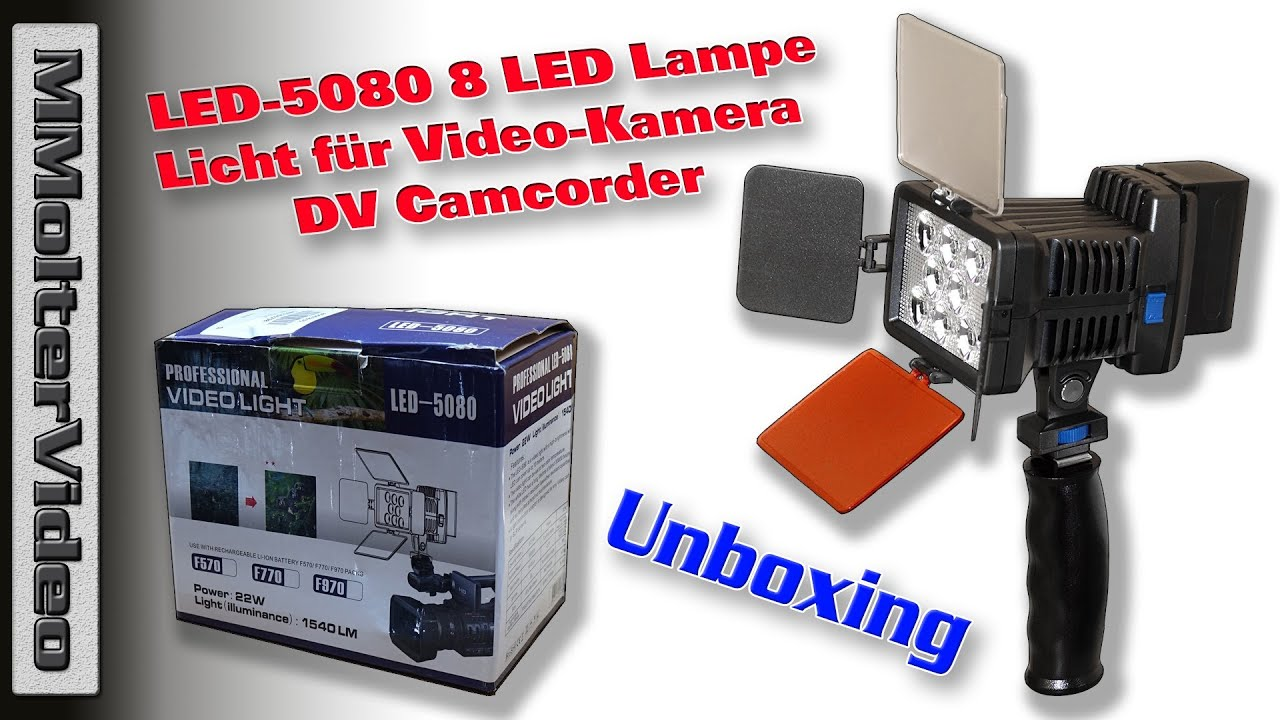 unboxing led 5080 8 led lampe licht f r video kamera dv camcorder mmolter video youtube. Black Bedroom Furniture Sets. Home Design Ideas