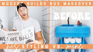 DIY BUS BATHROOM MAKEOVER | STARTING TO MAKEOVER MODERN BUILDS SCHOOL BUS TINY HOME CONVERSION!!!