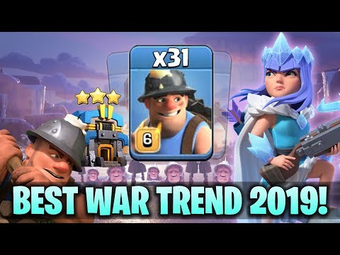 Best War Trend 2019! TH12 Queen Walk With 31 Miner Attack! TH12 Best & Strong Attack Strategy 2019