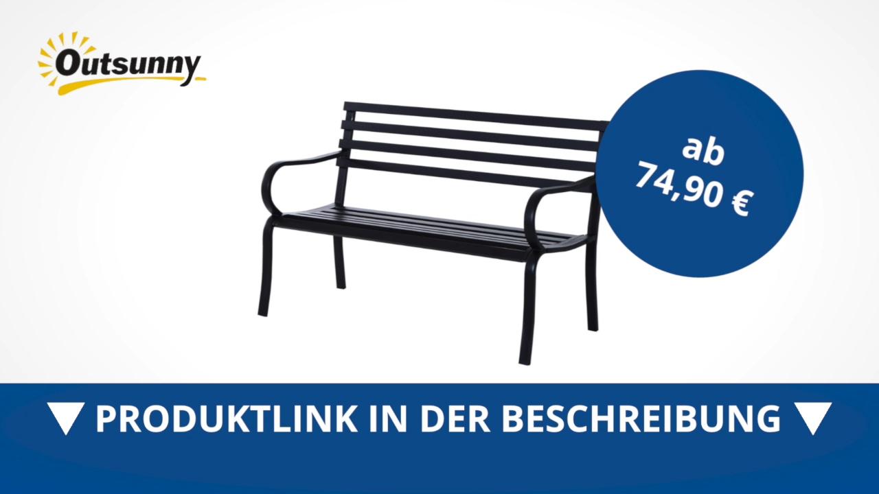 Outsunny Gartenbank Sitzbank Bank Metall Gartenmäbel 2 Sitzer Schwarz Direkt Kaufen