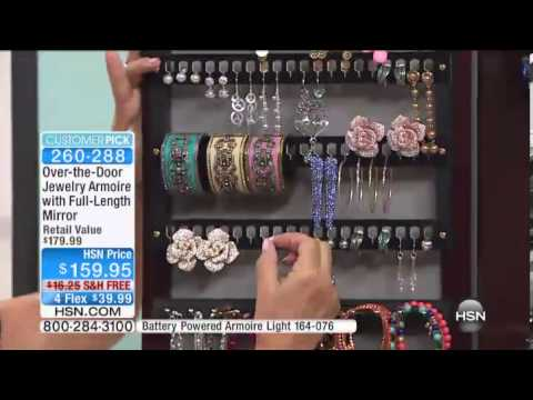 OvertheDoor Jewelry Armoire with FullLength Mirror YouTube