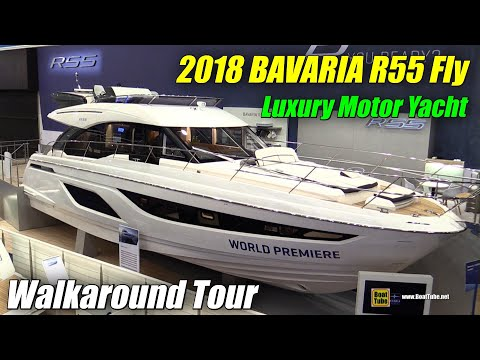 2018 Bavaria R55 Fly Motor Yacht  Walkaround  Debut at 2018 Boot Dusseldorf Boat Show