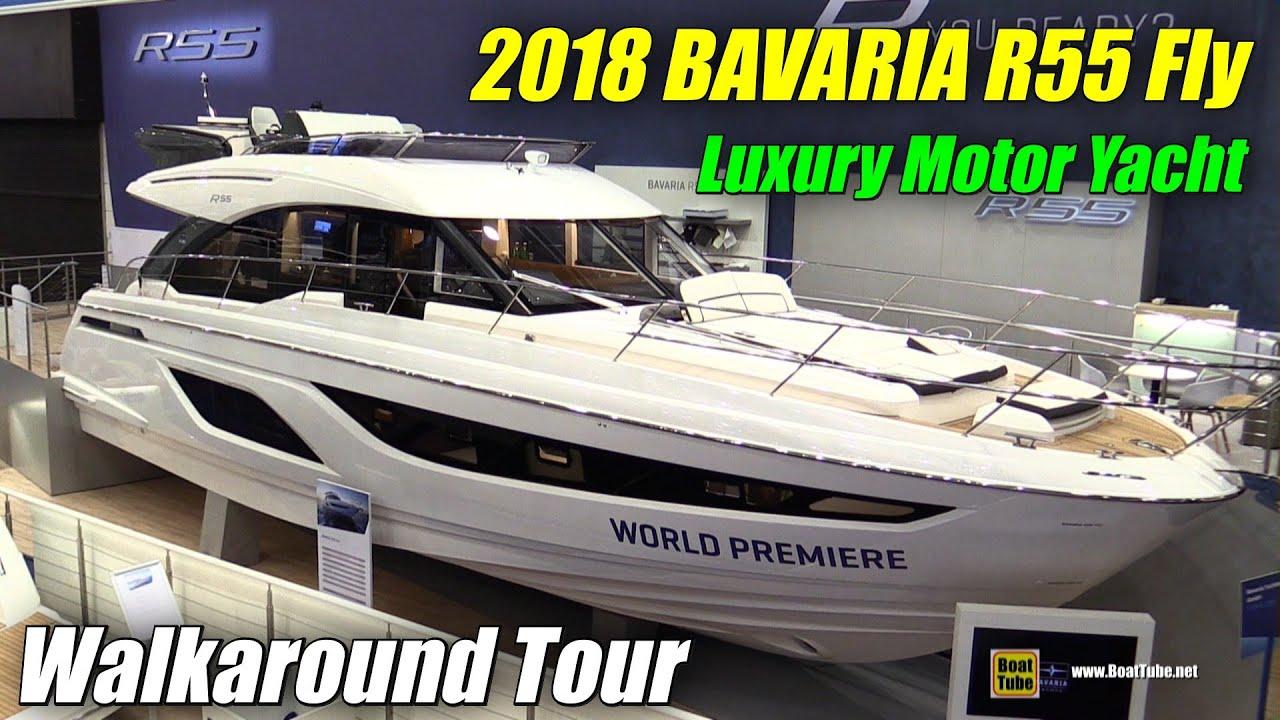 2018 bavaria r55 fly motor yacht walkaround debut at 2018 boot dusseldorf boat show youtube. Black Bedroom Furniture Sets. Home Design Ideas