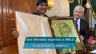 A través de Twitter, Morales difundió un par de fotografías del encuentro, en las que destaca el momento en que le entregó el cuadro a López Obrador en Palacio Nacional.