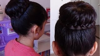 Moño/Chongo con Trenza/ Braided Bun Hair Tutorial
