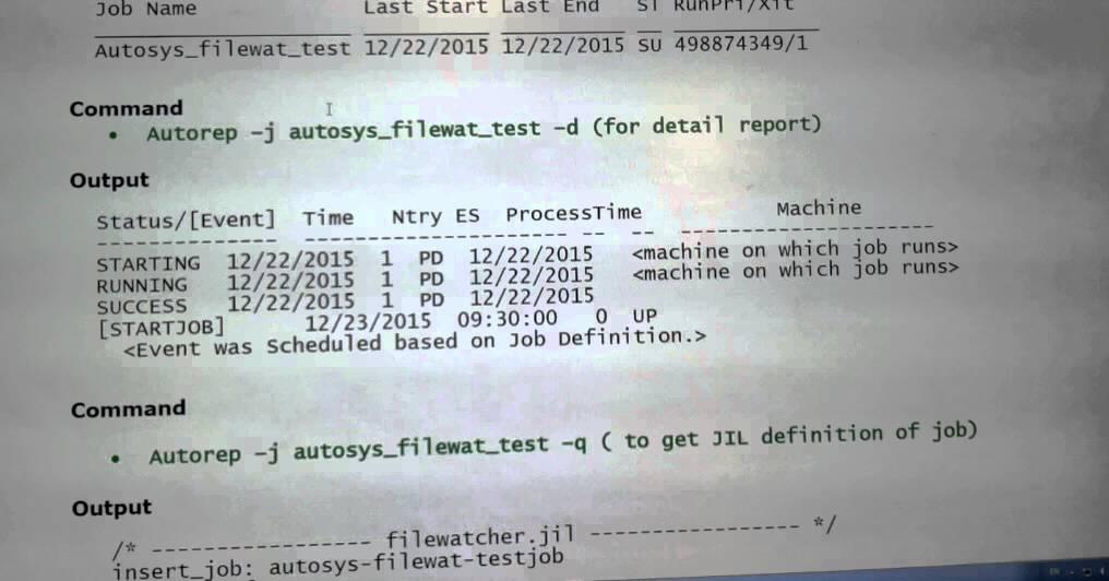 Unix Autosys Job Autorep Commands