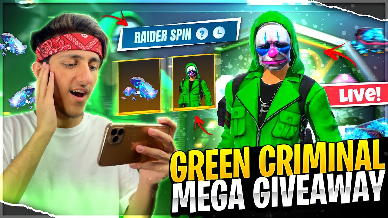 Green Criminal Vs Dj Alok   New Green Criminal Mega Giveaway Free Fire Live - Garena Free Fire
