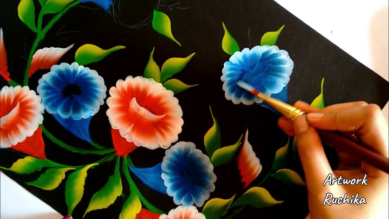 Simple One Stroke Flower Painting   Acrylic Painting ...