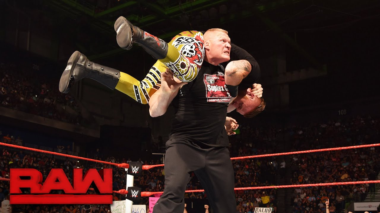 Brock Lesnar Takes Heath Slater To Suplex City Raw Aug 15 2016