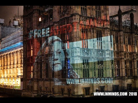 Guerilla Projection On Parliament - Free Ahed Tamimi & All Palestinian Child Prisoners [Inminds]