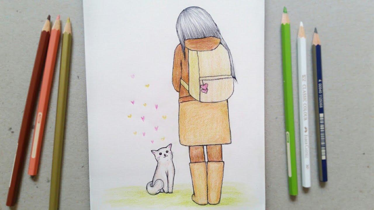 رسم سهل تعليم رسم بنت من الخلف وقطة بالرصاص للمبتدئين بطريقة