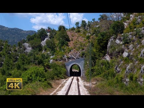 4K CABVIEW Podgorica - Niksic - - 600m altitude change - through 12 tunnels and scenery railway line