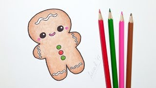 How to Draw a Cute Gingerbread Man - Christmas drawing