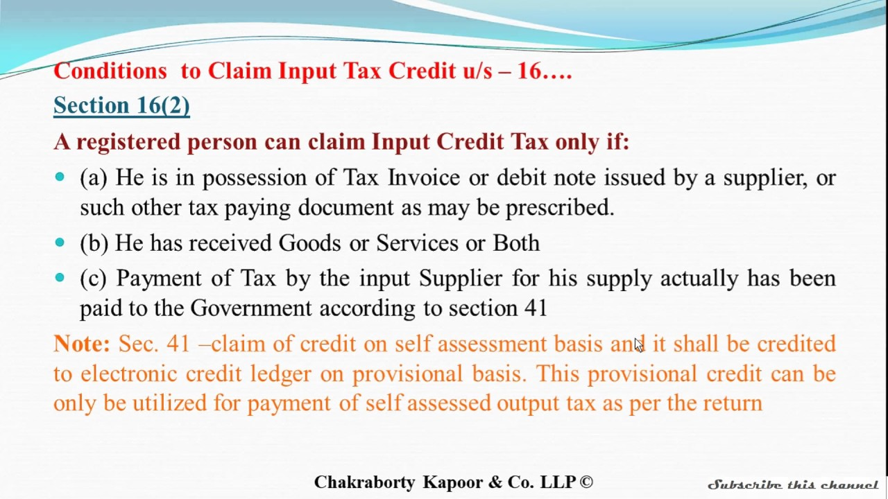 Sec 16 Cgst Act Input Tax Credit Eligibility And Conditions Explained In Easy Words