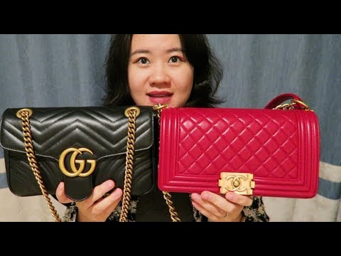 40d96d4c712 Comparison of Chanel Boy and Gucci Marmont - YouTube