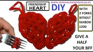 BFF heart Charm With two forks without Rainbow Loom Tutorial. (Mini Figurine)