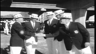 US athletes arrive and prepare to parade to the stadiumduring Summer Olympics of ...HD Stock Footage