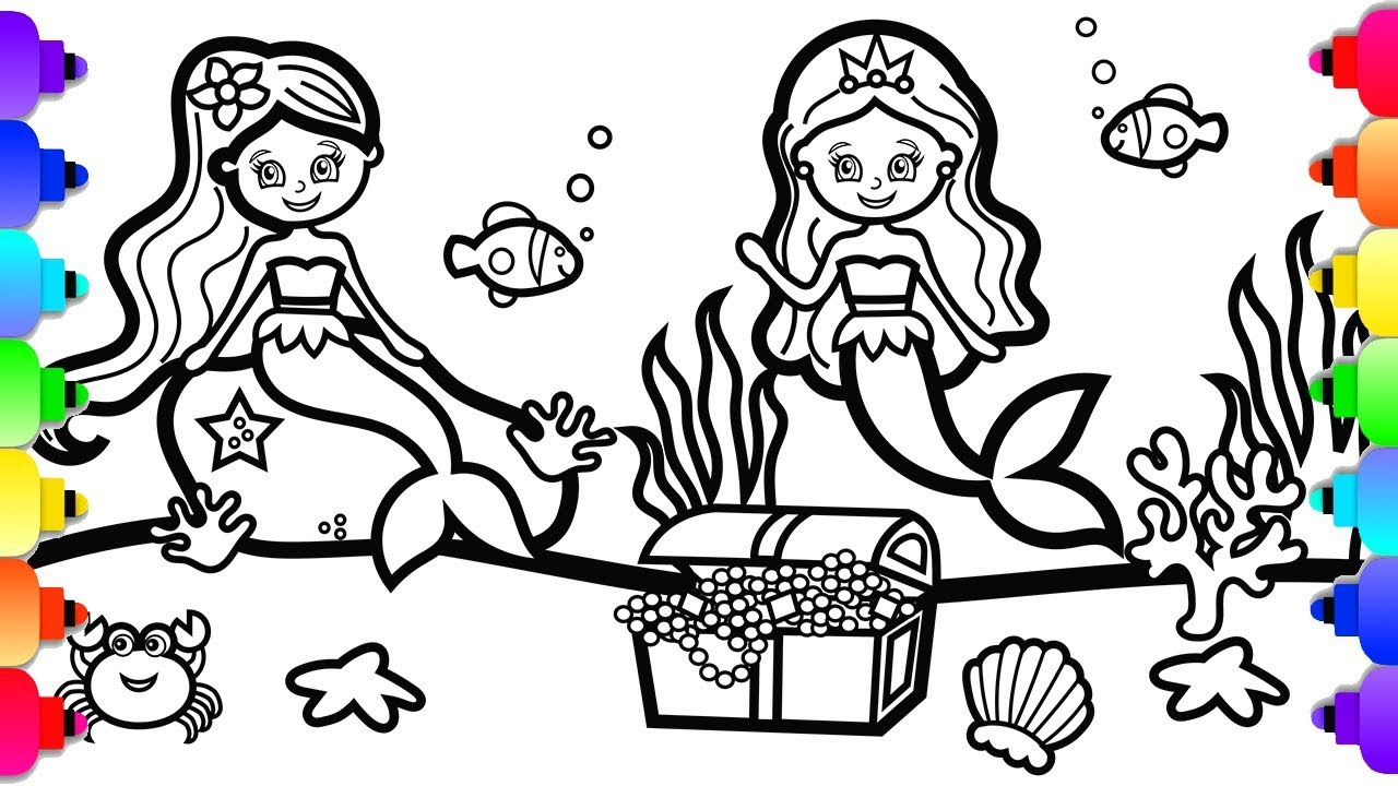 GLITTER Mermaids Coloring and Drawing for Kids 💜🌺💜 Mermaid ...
