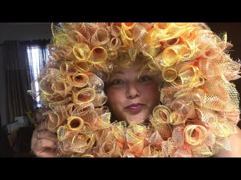 NEW Dollar Tree DIY - How to make a Beautiful Mesh Wreath for less than $10 - Fall DIY