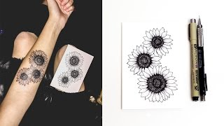 How I Designed My Tattoo | Sunflower Drawing Tutorial
