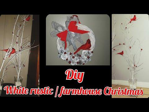 Dollar tree DIY white farmhouse/rustic Christmas tree and Wreath