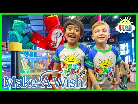 Ryan plays Indoor Games for kids with Elli at Dave and Busters | Make a Wish Edition!!