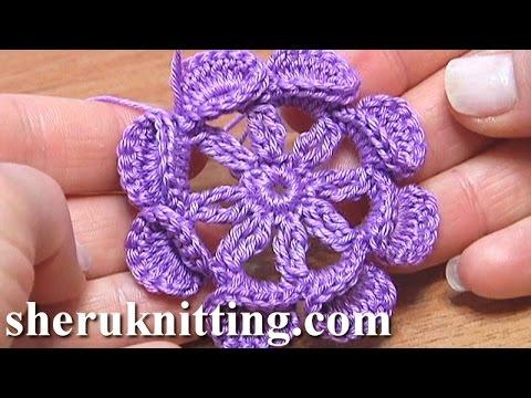 Crochet Flat Center Flower Tutorial 14 T Ii Iek Youtube