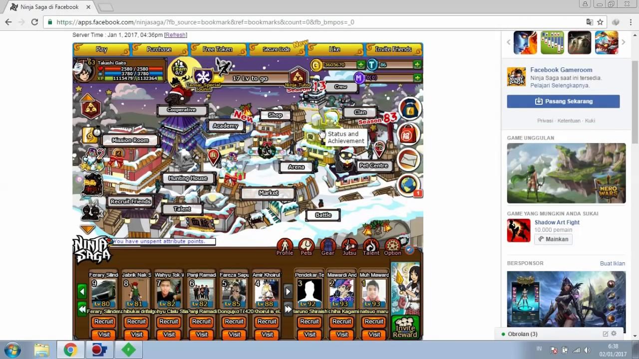 Ninja saga facebook cheats token