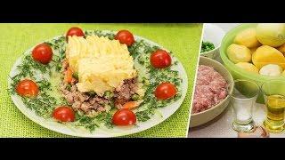 Запеканка - картофель,фарш, зеленый горошек