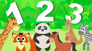 Learn Numbers + Counting w/ Jungle Animals Kids Song   Family Fun Learning